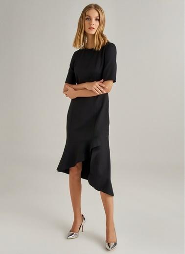 Monamoda Asimetrik Volanlı Midi Elbise Siyah